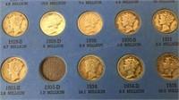 Mercury Head Dime Collection 1916-1945 Partially