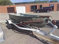 "13' 6"" fishing boat w/trailer, 2"" ball"
