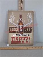 Deer & Beer novelty sign