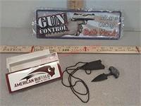 New gun control metal sign and American buffalo