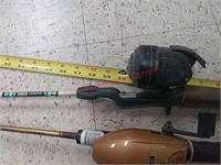 6 fishing pole rods & reels, zebco, South bend,
