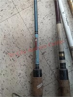 5 fishing pole rods & reels, gold eagle, heddon,