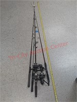 4 fishing pole rods & reels, browning,