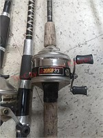 4 fishing poles rods & reels, zebco & others