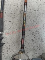5 fishing pole rods & reels, zebco, Shakespeare,