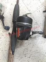 6 fishing pole rods & reels, zebco, Johnson,