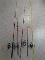 4 fishing poles, zebco, daiwa, others