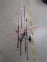 4 fishing poles, penn & others