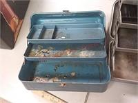 3 vintage metal tackle boxes