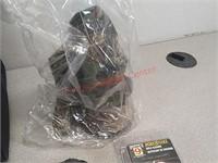 Military folding shovel, range bag, knife, bire