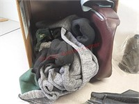 Gun socks, horseshoe gun racks, military shovel,