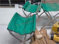 Folding stools, bait bucket, life jackets, etc