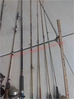 7 fishing poles, zebco, others