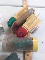 Fishing items - plastic worms, real adapters,
