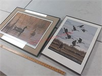 Two framed ducks and geese print – morning