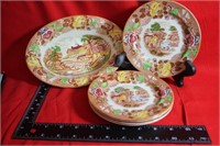 Vintage Woods Ware Pieces Bowl Small Plates