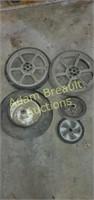 Assorted wheelbarrow and lawn mower wheels