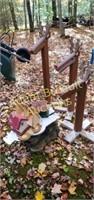 Assorted custom made wooden lawn decor & bird