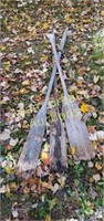 3 vintage wooden oars, some wood rot on bottoms