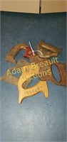 Assorted hand saw wooden handles