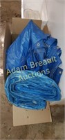 2 assorted blue tarps, good condition, approx 10