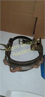 Leather climbing belt and hard hat
