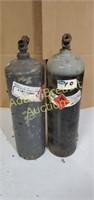 2 acetylene 15 inch gas tanks