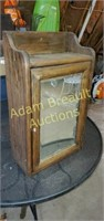 Vintage solid wood wall mount cabinet with mirror