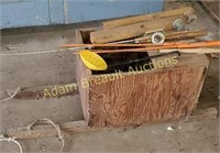 Custom built wood ice fishing sled and assorted