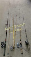 5 assorted fishing rods and reels