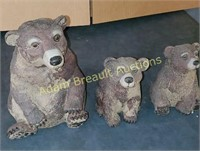 3 brown bear plastic resin lawn figurines