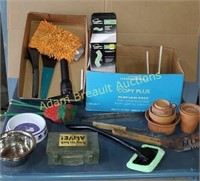 Box lot - BBQ tools, venting duct, dog dishes,