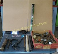 Box lot - grease gun, bungee cords, serpentine