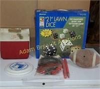 Box lot - 21 inch lawn dice, football, plastic