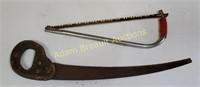 Vintage hand saw & bow saw