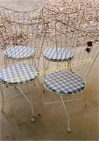 4 vintage wrought iron soda fountain chairs