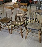 5 vintage solid wood chairs