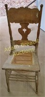 Antique cane bottom wood chair
