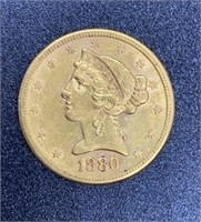 1880 Liberty Head Variety 2 $5 Gold Coin