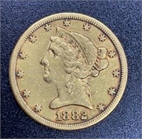 1882 Liberty Head Variety 2 $5 Gold Coin