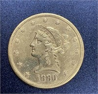 1880-S Variety 2 $10 Gold Coin