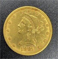 1881 Liberty Head Variety 2 $10 Gold Coin