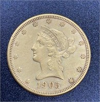 1905 Liberty Head Variety 2 $10 Gold Coin