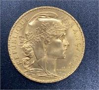 1910 France 20 Francs Gold Coin