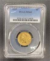 1895 MS62 Liberty Head Variety 2 $5 Gold Coin