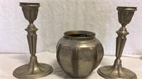 Decorative Metal Candlesticks and Vase