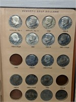 Kennedy Half Dollar Collector's Book w/70 Coins