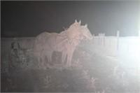 Antique Glass Negative Farmer w/ Horses