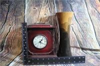 Wooden Clock Jewelry Case & Wood Vase