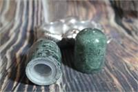 Marble Salt Pepper Shakers In Holder